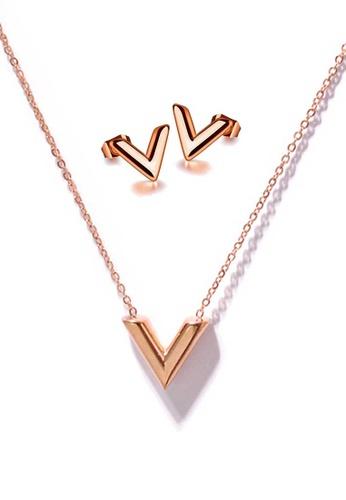 CELOVIS gold CELOVIS - Victoria V-Shape Necklace + Earrings Jewellery Set in Rose Gold B5688AC5532AECGS_1