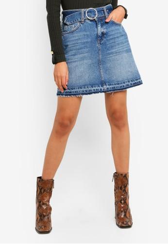 River Island blue Belted Denim Mini Skirt F86FCAACBD421AGS_1