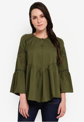 BYN green Embroidery Long Sleeve Top 6236BAA5DC59B2GS_1