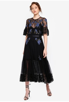 ecc250422d French Connection black Ambre Embroidered Floral Dress F3BF3AAD61FCABGS 1