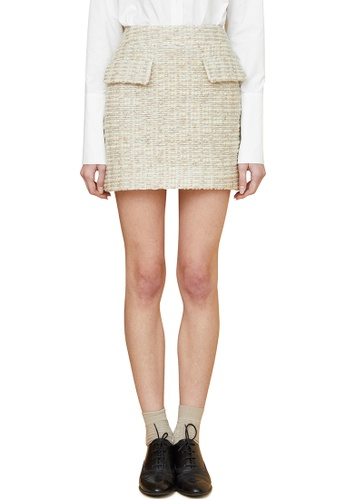 MILLOGREM beige Comma Tweed Wool Skirt MI241AA0GE62SG_1