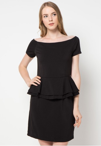 Chic Simple black Off Shoulder Peplum Dress CH325AA72CFVID_1