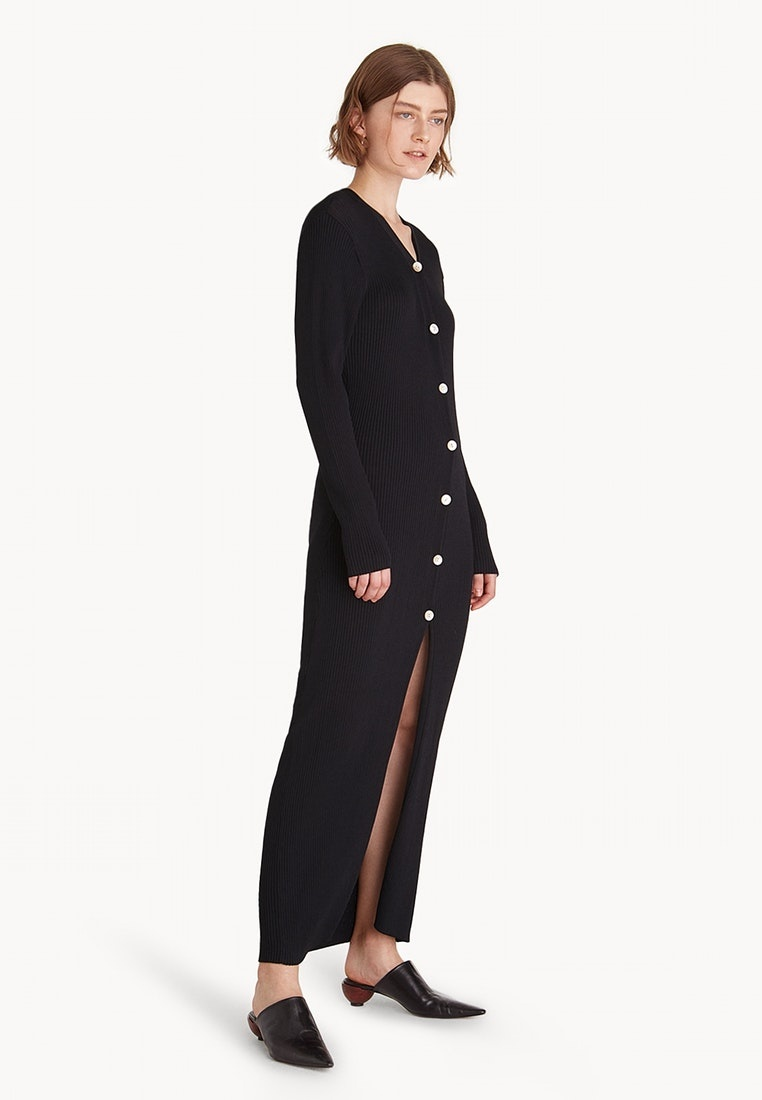 Black Slit Maxi Ribbed Dress Premium Pomelo Front qYZwg4t