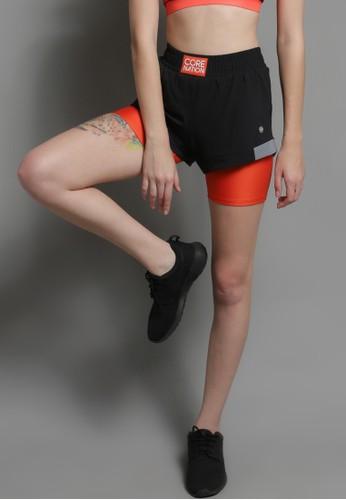 Corenation Active black and orange Inggrid Shorts Reflective - Black / Orange 2E827AA29869AEGS_1