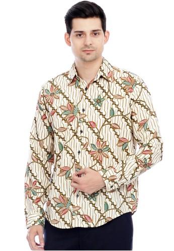 Flike Batik multi Kemeja Batik Tangan Panjang Motif Lereng Hijau A2E0BAA1BD7376GS_1