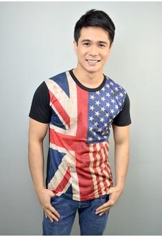 US UK Flag Print Cotton T-shirt
