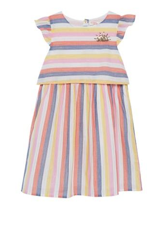Du Pareil Au Même (DPAM) white Stripe Dress B54E7KA974D428GS_1