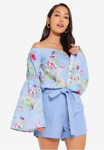 b588a6bc05e69 Glamorous blue Floral Off Shoulder Blouse 95DFBAA3033C06GS 1