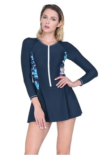 Sunseeker navy Sports Long Sleeves One-piece Swimdress 9866FUS88B413AGS_1