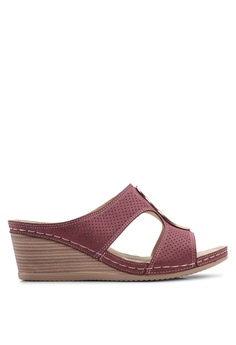 f159124da41 Louis Cuppers red Perforated Wedge Sandals 22718SHE5A1E4CGS 1