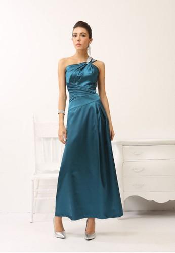 優雅氣質斜肩雙鑽肩帶時尚放射摺長禮esprit分店服, 服飾, 晚宴禮服