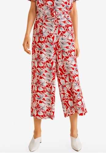 Mango red Flower Print Trousers C9692AAE9E1A82GS_1