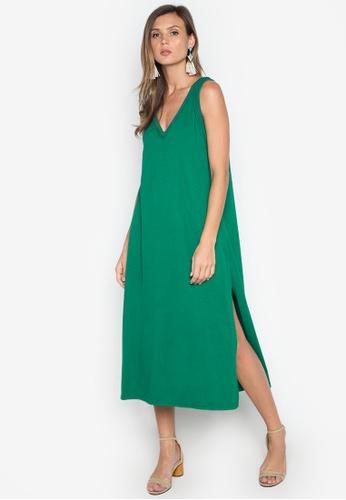 fashion superior quality picked up Midi Plain/Vneck With Side Slit Dress