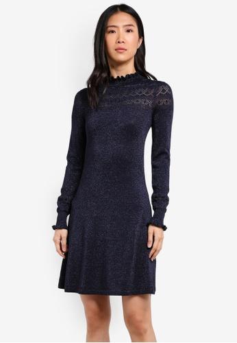 WAREHOUSE navy Sparkle Pointelle Dress WA653AA0SBZTMY_1