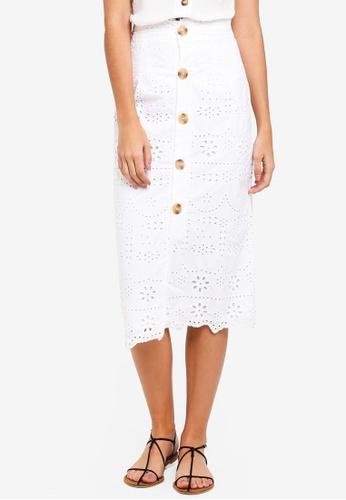 TOPSHOP white Broderie Button Midi Skirt 1A437AA2B26B8BGS_1
