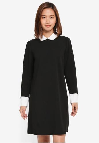 Wallis black Black Collar Detail Shift Dress E6FF9AAF631235GS_1