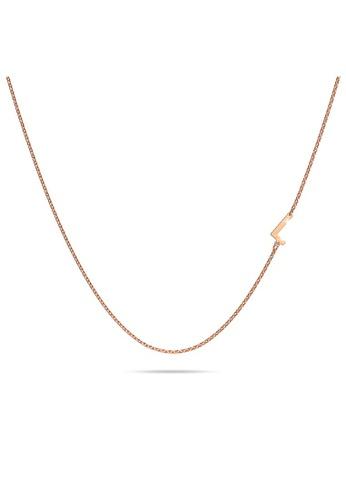 Bullion Gold gold BULLION GOLD Bold Alphabet Letter Initial Charm Necklace in Rose Gold Tone - L 3D6FFAC4D0961DGS_1