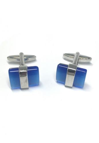 Splice Cufflinks blue and silver Blue Acrylic Bar Cufflinks SP744AC20FSXSG_1