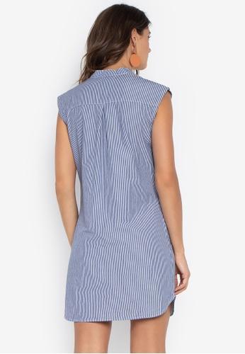 dd3ea41b8b4da3 Shop Folded   Hung Sleeveless Chambray Button Down Dress Online on ...
