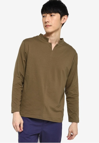 ZALORA BASICS green Stand Collar Notched Long Sleeve T-Shirt 8DD7DAAFA8F006GS_1