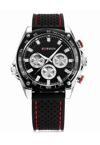 curren black Curren 8146 Men's Silicone Fashion Wristwatch (Black) CU537AC22RQJMY_1