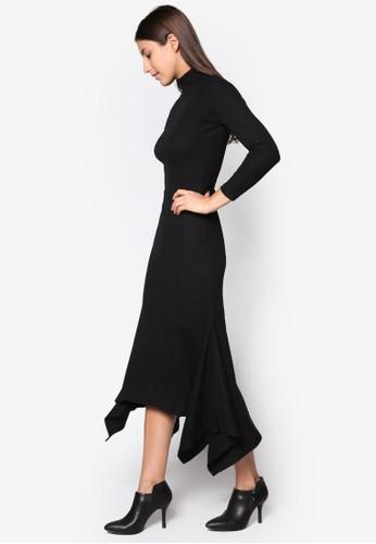 不對稱下esprit高雄門市擺貼身連身裙, 服飾, 洋裝