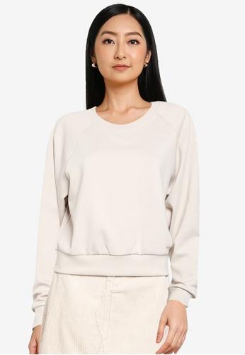 ONLY beige Joy Long Sleeve Sweatshirt 9D8EEAA02DBE46GS_1