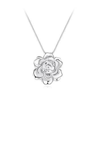 Glamorousky silver Romantic Elegant Flower Pendant with Necklace A9C72AC1C9BA3AGS_1