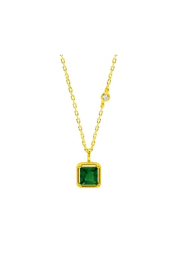 LYCKA gold LDR1318 S925 Silver Square Emerald Necklace 3F3A6ACC5F0BDEGS_1