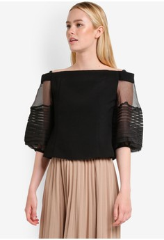 BYSI  Off Shoulder Mesh Panel Top
