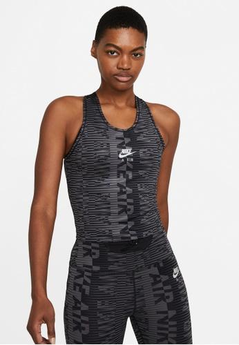 Nike black and grey Women's Air Printed Running Tank C39FEAA9635944GS_1