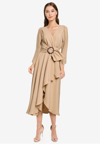 Goddiva beige High Low Wrap Style Midi Dress E23C2AA0800985GS_1