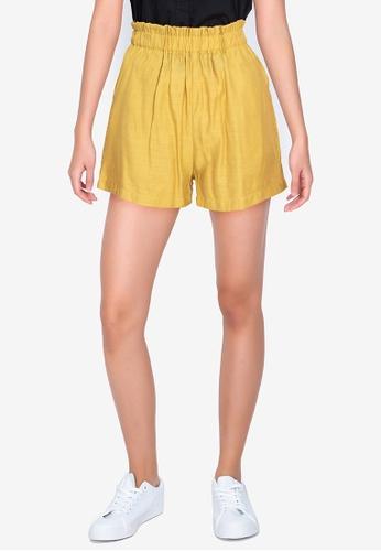 ZALORA BASICS yellow Paperbag Shorts EE3BAAADDE3C0AGS_1