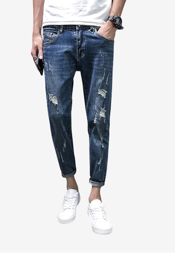 hk-ehunter blue Men Rips Jeans C5114AA17398C1GS_1
