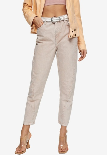 TOPSHOP pink Twist Seam Mom Tapered Jeans AE919AA271AFD0GS_1