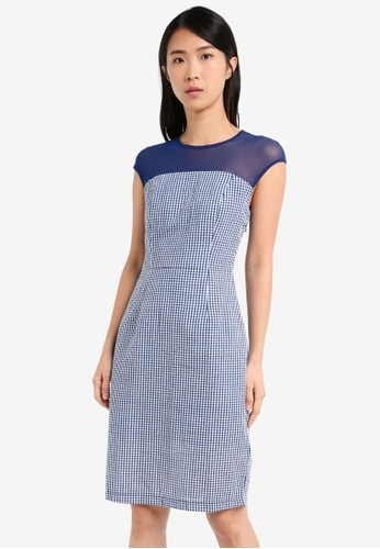 ZALORA navy Mix Fabric Midi Dress 6BBA7AA6281C25GS_1