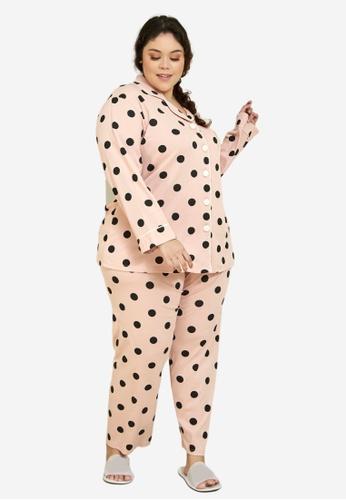 CURVA FABULOUS pink Premium Cotton Polka Dotted Pyjamas F5306AA6A6CD83GS_1