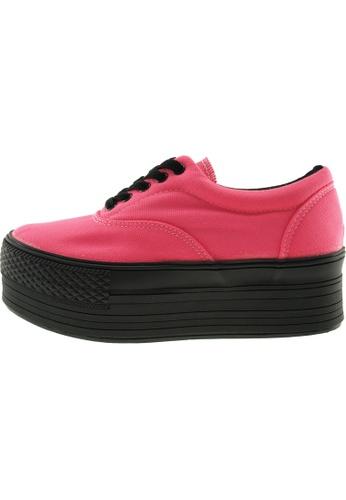 Maxstar 粉紅色 新款韩国鞋C50-5H時尚帆布布混合女粉紅色 US Women Size MA345SH97GTITW_1