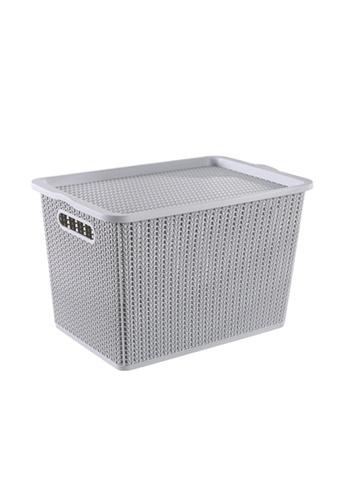 HOUZE grey HOUZE - Braided Storage Basket with Lid (Large) - Grey 271D7HLAD935F7GS_1