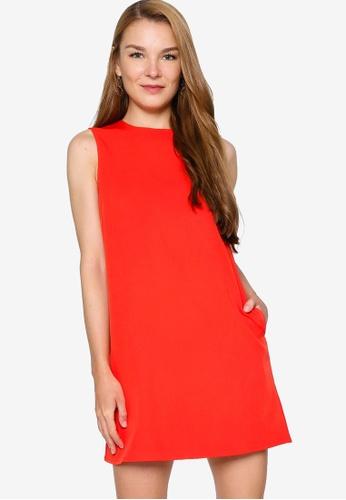 ZALORA WORK 橘色 Sleeveless Shift Dress 52420AA1503DEEGS_1
