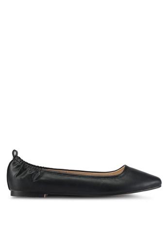 ZALORA black Faux Leather Ballet Flats E4D23SH56EF2E8GS_1