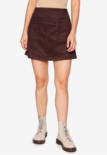 Heather brown Woven Skirt D6163AA957DCBDGS_1