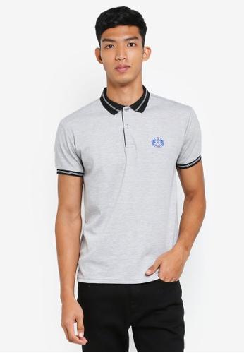 Fidelio grey Lining Collar and Sleeves Basic Polo Shirt 70FC9AAA8CBB3AGS_1