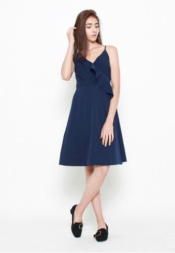 QLOTHE blue Scarlet Ruffle Wrap Dress 22657AAF1AB0D7GS_1