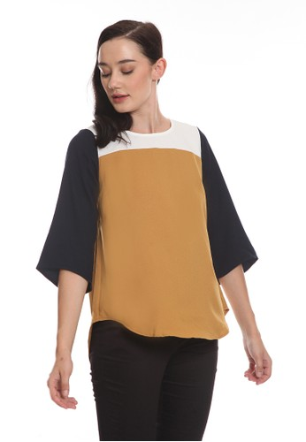 Minimal brown 3/4 Sleeve Color Block Blouse B9713AA6E6720FGS_1