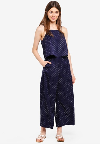 Something Borrowed navy Double Layer Palazzo Jumpsuit EFC92AA82855EBGS_1
