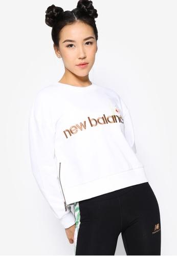 New Balance white NB Essentials Botanical Crew Fleece Sweatshirt F7A27AA0FC4D34GS_1