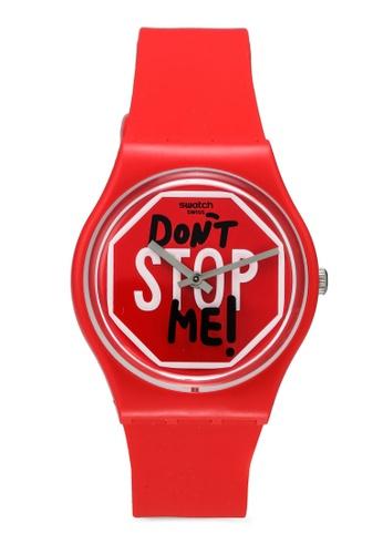 Swatch 紅色 Don't Stop Me! 手錶 FCE12AC8210EECGS_1