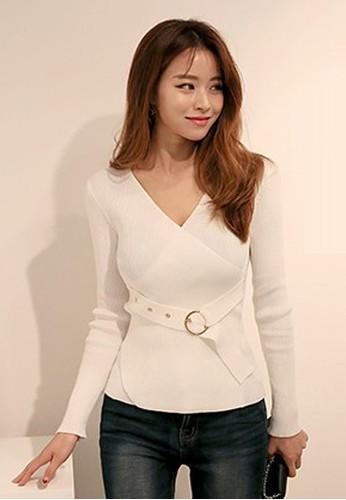 腰帶細節修身針織上衣, 服飾, 毛衣&zalora 衣服尺寸 針織外套