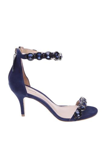 SCHUTZ 藍色 SCHUTZ 珠寶搭帶中跟涼鞋 - FANNY (高貴蓝) 43C9CSH72FF195GS_1